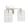 This item: Polished Nickel Two-Light Bath Vanity with Clear Embossed Glass