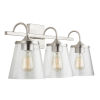 This item: Brushed Nickel Three-Light Bath Vanity with Clear Seeded Glass