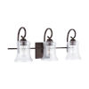 This item: HomePlace Cameron Bronze Three-Light Bath Vanity with Clear Seeded Glass