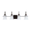 This item: HomePlace Cameron Bronze Four-Light Bath Vanity with Clear Seeded Glass