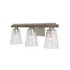 This item: Connor Black Wash and Matte Nickel Three-Light Bath Vanity with Clear Stone Seeded Glass