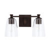 This item: HomePlace Myles Bronze Two-Light Bath Vanity with Clear Seeded Glass