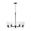 This item: HomePlace Myles Matte Black Five-Light Chandelier with Clear Seeded Glass