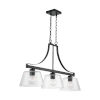 This item: HomePlace Matte Black 36-Inch Three-Light Island Pendant with Clear Seeded Glass