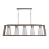 This item: Connor Black Wash and Matte Nickel Five-Light Island Pendant with Clear Stone Seeded Glass