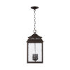 This item: Sutter Creek Oiled Bronze Three-Light Outdoor Hanging Pendant with Antiqued Water Glass