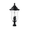 This item: Ashford Black Three-Light Outdoor Post Mount with Water Glass