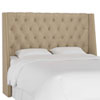 This item: Full Linen Sandstone 60-Inch Nail Button Tufted Wingback Headboard