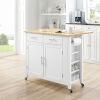 This item: Savannah White 42-Inch Wood Top Kitchen Cart