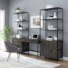 This item: Jacobsen Brown Ash Matte Black Three-Piece Desk and Etagere Set