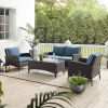 This item: Kiawah Blue Brown Four-Piece Outdoor Wicker Conversation Set