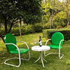 This item: Griffith Three Piece Metal Outdoor Conversation Seating Set: Two Chairs in Grasshopper Green Finish with Side Table in White Finish