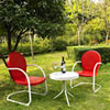 This item: Griffith Three Piece Metal Outdoor Conversation Seating Set: Two Chairs in Red Finish with Side Table in White Finish