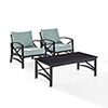 This item: Kaplan 3 Piece Outdoor Seating Set With Mist Cushion - Two Outdoor Chairs, Coffee Table