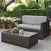This item: Palm Harbor 2 Piece Outdoor Wicker Seating Set With Grey Cushions- Loveseat and Glass Top Table