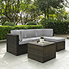 This item: Palm Harbor 5 Piece Outdoor Wicker Seating Set With Grey Cushions - Two Corner Chairs,  Center Chair,  Ottoman and Coffee Sectional Table