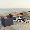 This item: Biscayne 3 Person Outdoor Wicker Seating Set in Mocha - Two Corner Chairs, One Arm Chair, Ashland Firepit