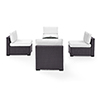 This item: Biscayne 4 Person Outdoor Wicker Seating Set in White - Four Armless Chairs, Ashland Firepit