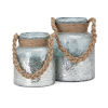 This item: Roald Gray and Brown Lantern with Braided Rope Handle, Set of 2
