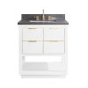 This item: White 31-Inch Bath vanity with Gold Trim and Gray Quartz Top