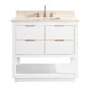 This item: White 37-Inch Bath vanity with Gold Trim and Crema Marfil Marble Top