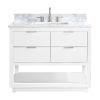 This item: White 43-Inch Bath vanity with Silver Trim and Carrara White Marble Top