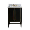This item: Black 25-Inch Bath vanity Set with Gold Trim and Carrara White Marble Top