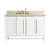 This item: White 49-Inch Bath vanity Set with Gold Trim and Crema Marfil Marble Top