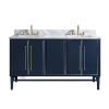 This item: Navy Blue 61-Inch Bath vanity Set with Silver Trim and Carrara White Marble Top