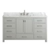 This item: Modero Chilled Gray 60-Inch Single Vanity Combo with White Carrera Marble Top