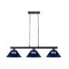 This item: Cobalt Matte Black and Dark Blue Three-Light Billiard Pendant