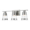 This item: Ethos Brushed Nickel Three-Light LED Bath Vanity with Clear Glass