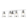 This item: Ethos Chrome Four-Light LED Bath Vanity with Clear Seedy Glass