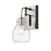 This item: Kraken Matte Black and Brushed Nickel One-Light Wall Sconce With Transparent Glass