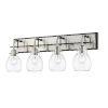 This item: Kraken Matte Black and Brushed Nickel Four-Light Vanity With Transparent Glass