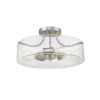 This item: Delaney Brushed Nickel Three-Light Semi Flush Mount With Transparent Glass