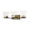 This item: Bleeker Street Matte Black and Olde Brass Three-Light Vanity with Transparent Glass