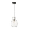 This item: Bella Matte Black and Brushed Nickel One-Light Mini Pendant with Transparent Glass