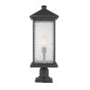 This item: Oil Rubbed Bronze 9-Inch One-Light Outdoor Pier Mounted Fixture With Transparent Beveled Glass