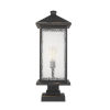 This item: Oil Rubbed Bronze One-Light Outdoor Pier Mounted Fixture With Transparent Beveled Glass