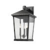 This item: Beacon Black Three-Light Outdoor Wall Sconce With Transparent Beveled Glass