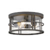 This item: Jordan Oil Rubbed Bronze Three-Light Outdoor Flush Ceiling Mount Fixture With Transparent Seedy Glass