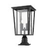 This item: Seoul Black Two-Light Outdoor Pier Mounted Fixture With Transparent Glass