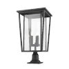 This item: Seoul Black Three-Light Outdoor Pier Mounted Fixture With Transparent Glass