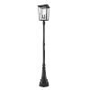 This item: Seoul Black Three-Light Outdoor Post Mounted Fixture With Transparent Glass