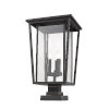 This item: Seoul Oil Rubbed Bronze Three-Light Outdoor Pier Mounted Fixture With Transparent Glass