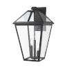 This item: Talbot Black Three-Light Outdoor Wall Sconce with Transparent Bevelled Glass