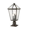 This item: Talbot Rubbed Bronze Three-Light Outdoor Pier Mounted Fixture with Seedy Glass