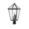 This item: Talbot Black Three-Light Outdoor Post Mount Fixture with Transparent Bevelled Glass