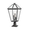 This item: Talbot Black Three-Light Outdoor Pier Mounted Fixture with Transparent Bevelled Glass